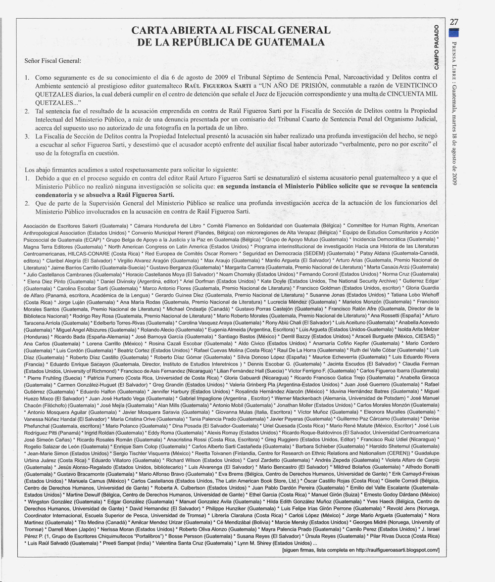 Scan of open letter in Prensa Libre